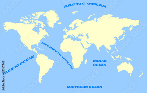 Garden Poster World Map Map of World and oceans
