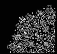 Curled Floral White Quadrant