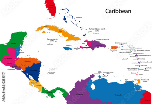Colorful Caribbean map with countries and capital cities – kaufen on