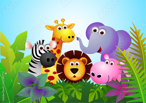 Deurstickers Zoo Cute animal cartoon in the jungle