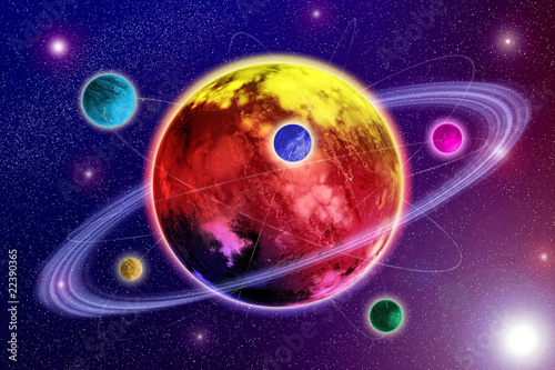 Foto op Canvas Kosmos Planet and satellites