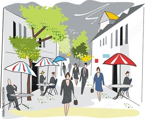 Foto auf AluDibond Gezeichnet Straßenkaffee French cafe illustration