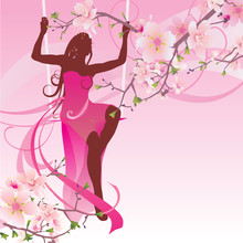 Pink Blossom Swing Woman
