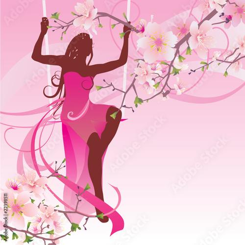 Foto op Plexiglas pink blossom swing woman
