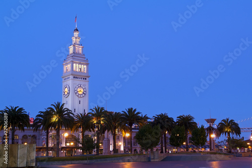 Staande foto Kiev San Francisco Ferry Building Clock Tower - Night