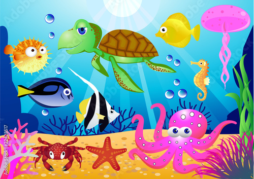 Poster de jardin Sous-marin Sealife cartoon