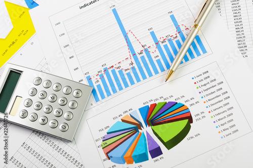 Fotografía  charts and graphs of sales