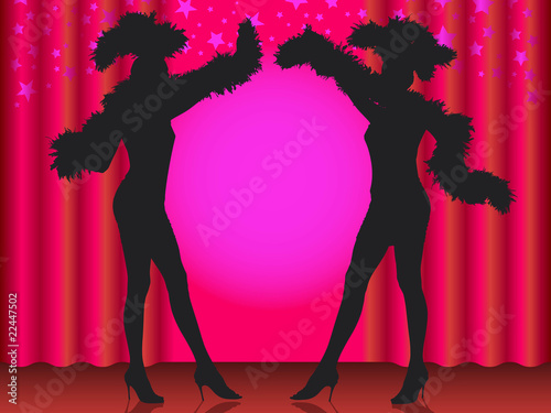 Fotografie, Obraz  Welcome! Silhouette of two showgirls in cabaret.