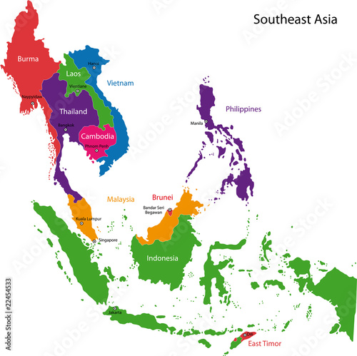 Map Of Asia With Capitals And Countries.Colorful Southeastern Asia Map With Countries And Capital Cities
