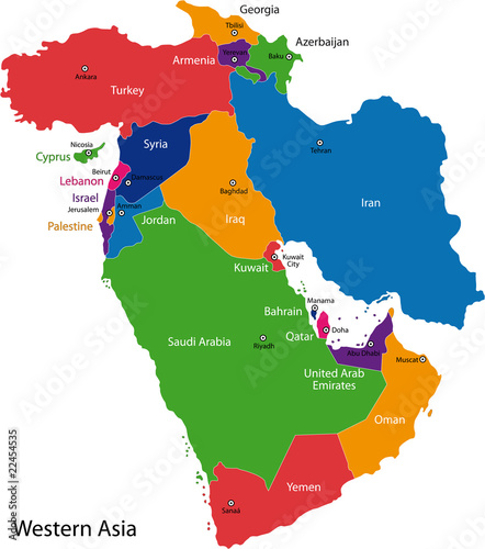 Map Of Asia With Capital Cities.Colorful Western Asia Map With Countries And Capital Cities Buy