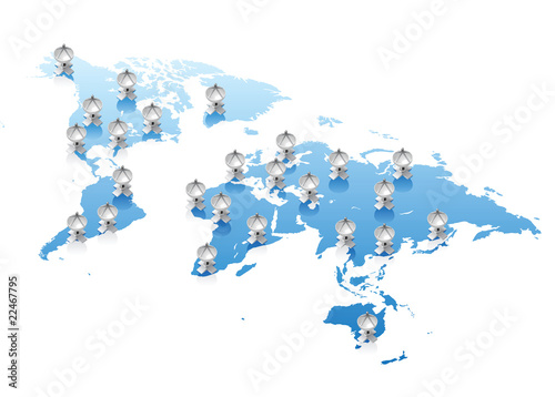 Recess Fitting World Map World map communications concept