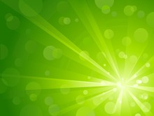 Green Light Burst With Shiny Light Dots And Copy Space