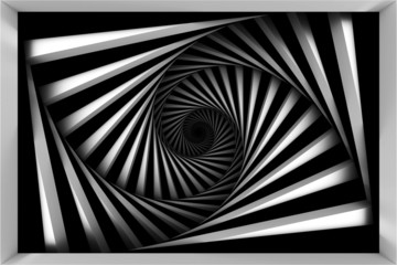 Panel Szklany Iluzja Black and white spiral