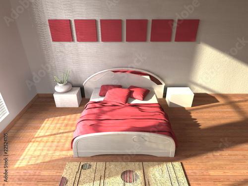 Camera da letto con quadri – kaufen Sie diese Illustration und ...