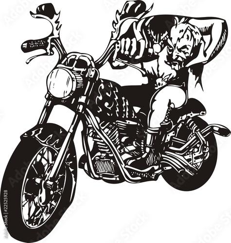Poster Motorcycle Biker on Motorcycle.