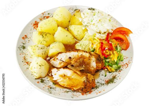 Obraz Danie obiadowe - szynka długo pieczona - fototapety do salonu