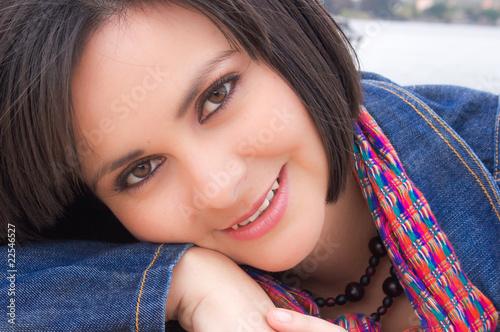 Fotografie, Obraz  Rostro de mujer joven sonriendo