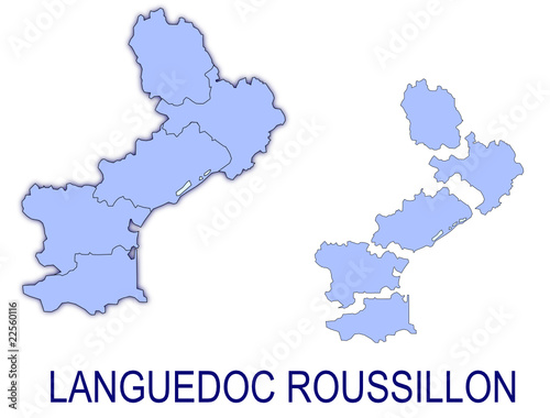 Carte Languedoc Roussillon Departements.Carte Languedoc Roussillon France Departements Buy This