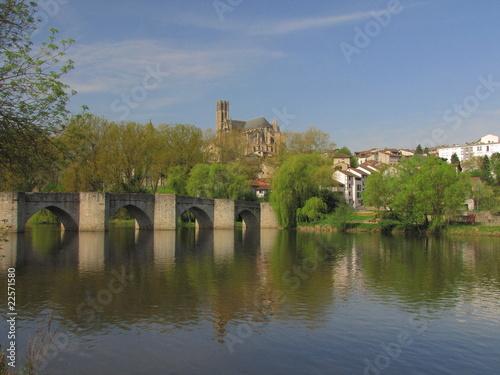 Foto auf AluDibond Stadt am Wasser Pont et Cathédrale Saint Etienne, Limoges, Limousin