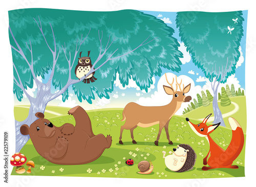 Canvas Prints Dinosaurs Animals in the wood. Funny cartoon and vector illustration