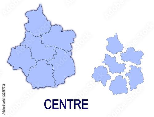 Fotografia  carte région centre France départements contour
