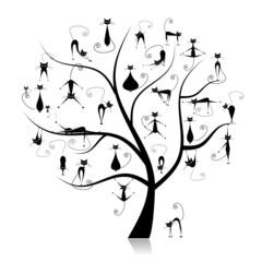 Naklejka Do salonu Family cats tree, 27 black silhouettes funny
