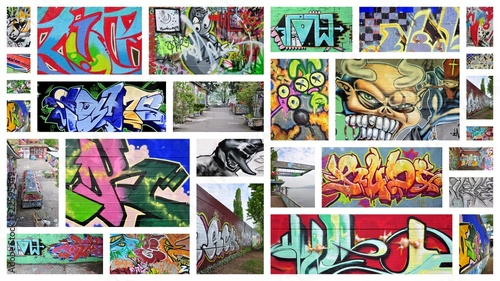 Foto op Aluminium Graffiti collage collage...graffiti