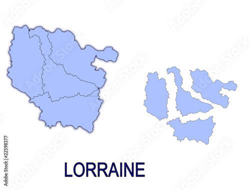 Fotografia  carte région lorraine France départements contour