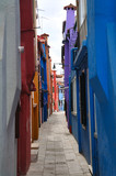 Narrow alley on the Burano island