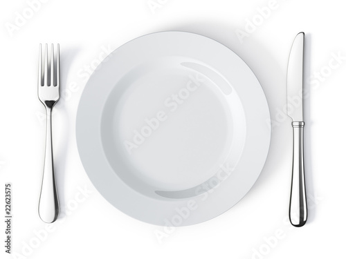 Obraz na plátně Place setting with plate, knife and fork