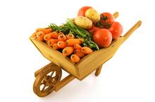 Wooden Wheelbarrow With Vegeta...