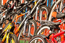 A Lot Of Multi-coloured Bicycles For Sale.