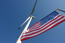 American Flag On The Wind