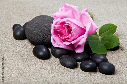 Photo sur Plexiglas Zen pierres a sable Ambiance zen - rose et pierres noires
