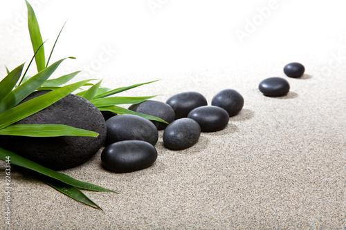 Photo sur Plexiglas Zen pierres a sable Ambiance zen - pierres noires et bambou