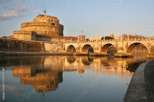 View on Saint Angel castle and bridge in Rome, Italy. Wallpaper Mural
