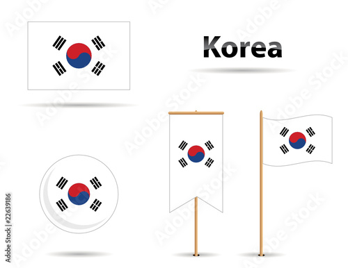 In de dag Art Studio set of four korean flags and name in shadow style