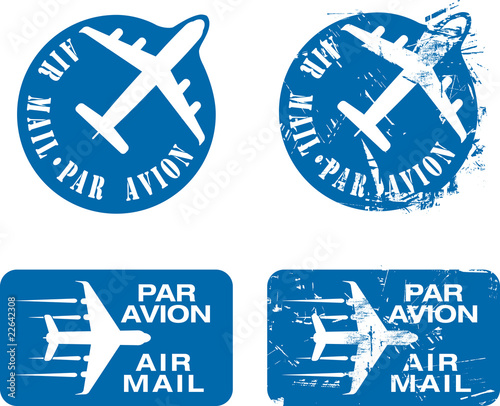 Par Avion Rubber stamp 03 Wallpaper Mural