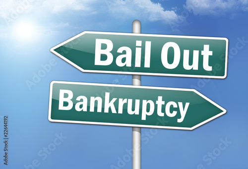 "Fotografie, Obraz  Way Signs ""Bail Out - Bankruptcy"""