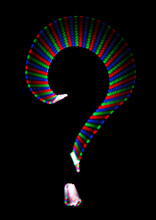 Bright Rainbow Symbol Question Mark On Black. Isolated.