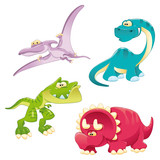 Fototapeta Dinusie - Dinosaurs Family. Funny cartoon and vector characters