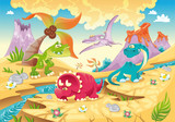 Fototapeta Dino - Dinosaurs Family. Funny cartoon and vector characters