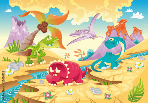 Ingelijste posters Dinosaurs Dinosaurs Family. Funny cartoon and vector characters