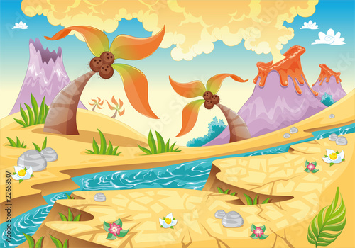 Canvas Prints Dinosaurs Background with tree palms and volcanoes. Vector illustration.