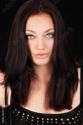 Photo  hübsche Frau in schwarzem Tank Top