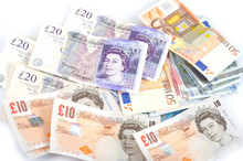 Pile Of British And Euro Money