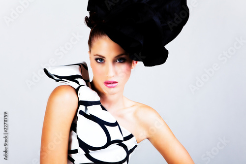 Fotografie, Obraz  Young Woman in Haute Couture Attire