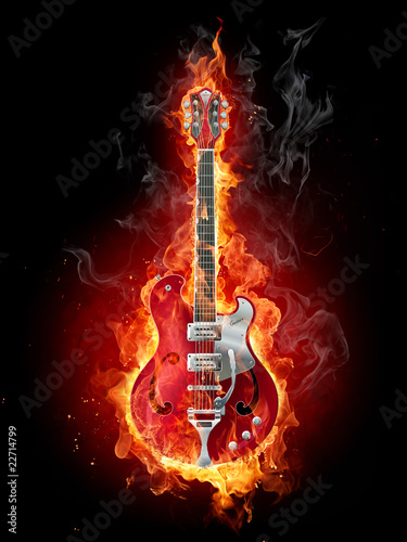 Deurstickers Vlam Burning guitar