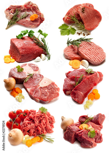Photo  collage of red meat with ingredients-collage carni rosse