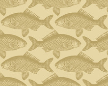 Seamless Vintage Fish Pattern ...